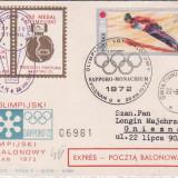 Scrisoare Olimpica Saporo 1972 circulata cu balonul gm 119 redus
