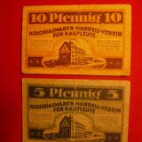 Bancnota Straine - 2 Bancnote-Jeton 5 si 10 Pf -magazin Coloniale 1921Germania