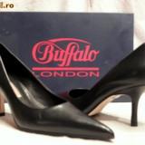 Pantofi piele, foarte comozi, Buffalo (781-62 NAPPA BLACK) - Pantof dama Buffalo, Marime: 36, 37, 38, 39, 40, Culoare: Negru, Piele naturala