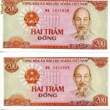 Bancnota Straine - Vietnam 200 dong 1987 consecutive unc