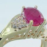 Superb inel aur galben 14K cu rubin si diamante naturale cognac, 14 carate, 46 - 56