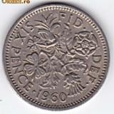 Marea Britanie-Anglia SIX PENCE 1960, Elizabeth II. XF/a.UNC (2)