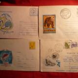 4 Plicuri Ilustrate -Intreg -Vanatoare Pescuit, Fauna Polara - Plic Papetarie
