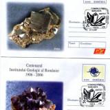 """Fosila roca - 2 întreguri poştale """"Centenar Institutul Geologic Român"""" minerale"""