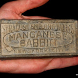 Metal/Fonta - RARITATE! FRAGMENT LINGOU SYRACUSE SMELTING WORKS - MANGANESE BABBIT - NEW YORK!