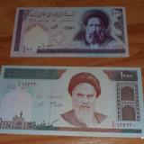 Lot 2 bancnote Iran 100 si 1000 riali UNC necirculate