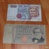 Bancnota Straine - Lot 2 bancnote Italia 1000 lire RAR