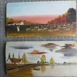 Pereche de picturi miniaturale pe lemn - Pictor roman