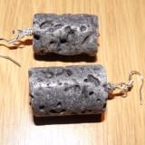 Oferta!Cercei cu lava vulcanica, argint tibetan si 925!!