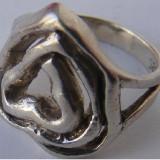 Inel vechi din argint in forma de inima - de colectie - Inel argint