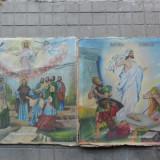 Pereche icoane vechi pe panza 80 x 80 cm. ( Icoana veche - 2 buc ) - Tablou pictori romani