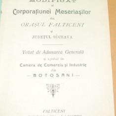 Carte Editie princeps - Statut-Corporatiunea Meseriasilor-Falticeni, Jud Suceava-1908