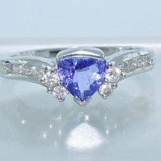 Inel aur alb 14K tanzanit si diamante superb