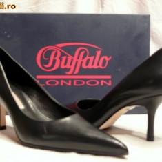 Pantofi dama Buffalo, Piele naturala - Pantofi piele, foarte comozi, Buffalo (781-62 NAPPA BLACK)