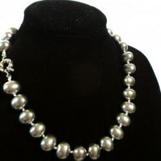 Colier perle de cultura mari Mallorca ovale 1, 5 cm diametru rare deosebite