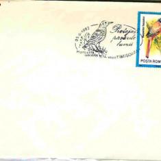 Timbru - Stampila speciala Protejati pasarile lumii, Timisoara 05.06.92, Monticola sexatilis