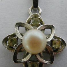 Lant cu medalion vechi din argint cu perla - de colectie - Colier argint