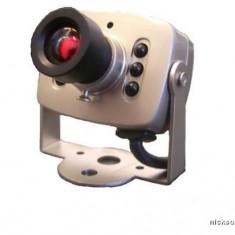 Mini camera de supraveghere video cu 6 LED IR si microfon, camera CCTV, Interior, Cu fir, Analogic, Color