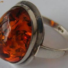 Inel argint - Inel vechi din argint cu chihlimbar (2) - de colectie