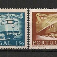 Timbre straine - Portugalia.1956 100 ani Liniile Ferate-Locomotive EB.228