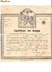 Pasaport/Document - 278 Document vechi-14sept1940 - Certificat de botez -pruncul Favian -Biserica Sf.Gheorghe, din comuna Mihai Bravu, plasa Viziru, judetul Braila