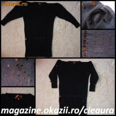 ROCHIE / PULOVAR / BLUZA NEAGRA TRICOTATA FASHION 100% LANA cu PAIETE si MARGELE NEGRE de SEARA, OCAZIE - Rochie tricotate