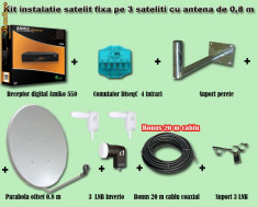 Sistem complet satelit - Instalatie de satelit fixa cu programe fara abonament pe 3 sateliti si digital terestra HD