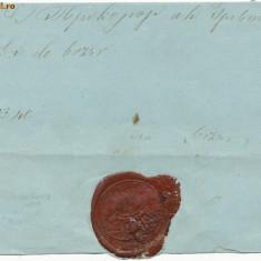 1850 scrisoare militara prefilatelica rara cu sigiliul STABUL OSTIRII ROMANESTI
