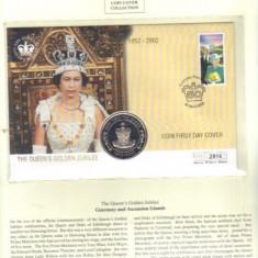 Bnk mnd St Helena 50 pence - 1 Crown 2002, Jubileul de Aur al reginei Elisabeta II, FDC (2)