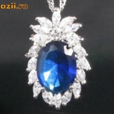 LIVRARE GRATUITA !!! - ABSOLUT SUPERB !!! -Pandantiv Blue Sapphire, 18k gold plated - Pandantiv placate cu aur