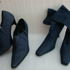 Pantofi dama, Marime: 39.5, Albastru - LOT PANTOFI / GHETUTE DE PRIMAVARA DIN BLUG, MAR. 39-40, 2 BUC, PRET PENTRU AMBELE PERECHI