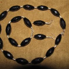Set bijuterii cu pietre semipretioase (onix) si argint - Set bijuterii handmade si fashion