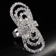 Livrare gratuita!!! Inel superb placat cu aur alb de 18k cu cristale swarovski- bijuterii handmade mireasa - Inel placate cu aur