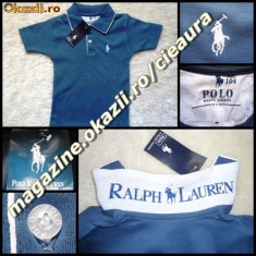 TRICOU firma brand POLO by RALPH LAUREN COPII VARSTA 1 - 2 - 3 ANI GRI PETROL cu ALB BUMBAC 100% TRICOURI BAIETEI COLECTIE NOUA
