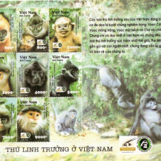 Timbre straine - BLOC TIMBRE MAIMUTE VIETNAM 2002