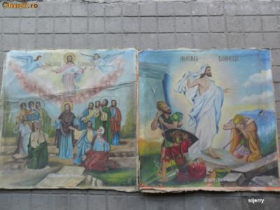 Pereche icoane vechi pe panza 80 x 80 cm. ( Icoana veche - 2 buc ) foto
