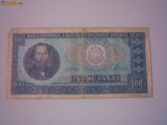 Bancnote Romanesti, An: 1966 - + Bancnota circulata 100 lei 1966 +