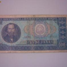 + Bancnota circulata 100 lei 1966 +