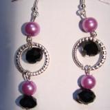 Cercei cu perle de sticla si cristale