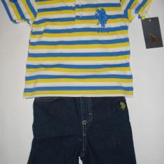Set US Polo Assn Original - baieti 18 luni, Culoare: Albastru