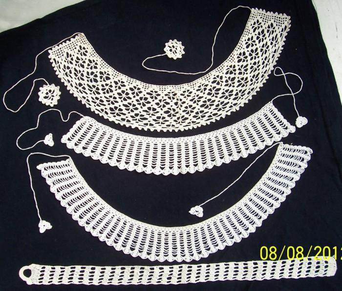 VINTAGE/Arta populara-3 gulere NOI, crosetate manual din fir bbc alb si bej deschis, anii `60,pt aplicat la bluze/rochii pt femei foto mare