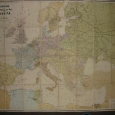 Harta cailor ferate si a rutelor maritime din Europa - antebelica