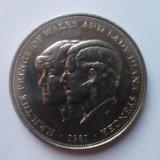 Crown-25 New Pence 1981, moneda URIASA comemorativa printul Charles si Lady Diana, Anglia-Marea Britanie