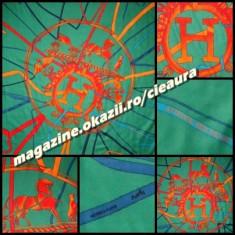SAL FULAR CASMIR VERDE TURCOAZ ORANGE FIRMA BRAND HERMES PARIS made in FRANCE COLECTIE NOUA PATRAT 130 x 130 cm ESARFA PATRATA ELEGANTA CALDUROASA - Fular Dama Hermes, Culoare: Bej, Lana