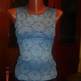 Bluza dama dantela- marimea M, Marime: 27, Fara maneca, Casual, Albastru, Nylon