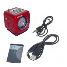 Boxe Telefon - BOXA PORTABILA rosie acumulator intern MP3 PLAYER slot card usb si RADIO FM