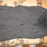 Palton dama, Gri, Marime: 38 - Palton lana, cu guler din blana ecologica, ca nou, mar. M