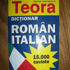 Dictionar roman-italian, 15.000 de cuvinte (editie de buzunar) Teora
