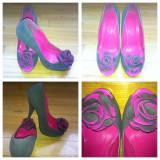 Pantofi fancy - Pantof dama, Marime: 36, Culoare: Gri, Gri