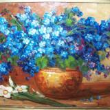 Vas cu albastrele, tablou in ulei - Pictor roman, Flori, Realism